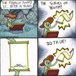 The Real Scroll Of Truth meme