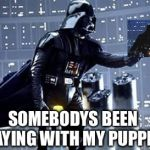 Darth Vader | SOMEBODYS BEEN PLAYING WITH MY PUPPETS | image tagged in darth vader | made w/ Imgflip meme maker