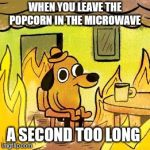 Dog in burning house | WHEN YOU LEAVE THE POPCORN IN THE MICROWAVE A SECOND TOO LONG | image tagged in dog in burning house | made w/ Imgflip meme maker