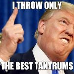 Donald Trump | I THROW ONLY THE BEST TANTRUMS | image tagged in donald trump | made w/ Imgflip meme maker