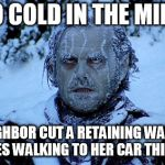 Freezing cold | IT'S SO COLD IN THE MIDWEST MY NEIGHBOR CUT A RETAINING WALL WITH HER NIPPLES WALKING TO HER CAR THIS MORNING | image tagged in freezing cold | made w/ Imgflip meme maker