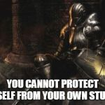 Downcast Dark Souls Meme | YOU CANNOT PROTECT YOURSELF FROM YOUR OWN STUPIDITY | image tagged in memes,downcast dark souls | made w/ Imgflip meme maker
