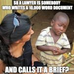 skeptical black boy | SO A LAWYER IS SOMEBODY WHO WRITES A 10,000 WORD DOCUMENT AND CALLS IT A BRIEF? | image tagged in skeptical black boy | made w/ Imgflip meme maker