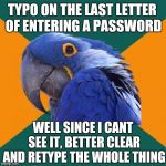 Do it all the time.... those dang hidden characters!!! | TYPO ON THE LAST LETTER OF ENTERING A PASSWORD WELL SINCE I CANT SEE IT, BETTER CLEAR AND RETYPE THE WHOLE THING | image tagged in memes,paranoid parrot,typo,password | made w/ Imgflip meme maker