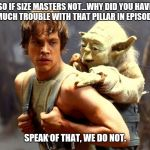 Luke and Yoda | SO IF SIZE MASTERS NOT...WHY DID YOU HAVE SO MUCH TROUBLE WITH THAT PILLAR IN EPISODE II? SPEAK OF THAT, WE DO NOT. | image tagged in luke and yoda | made w/ Imgflip meme maker
