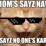 Excited Cat Meme | MOM'S SAYZ NAW I SAYZ NO ONE'S KARE | image tagged in memes,excited cat | made w/ Imgflip meme maker
