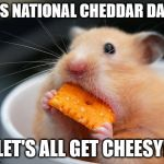 Cheese mouse | IT'S NATIONAL CHEDDAR DAY... LET'S ALL GET CHEESY! | image tagged in cheese mouse | made w/ Imgflip meme maker