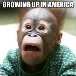 Shocked Monkey | GROWING UP IN AMERICA | image tagged in shocked monkey | made w/ Imgflip meme maker