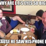 Dad Joke Meme | WHY ARE E.T.'S EYES SO BIG? BECAUSE HE SAW HIS PHONE BILL | image tagged in dad joke meme | made w/ Imgflip meme maker