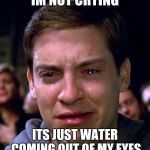 crying peter parker | IM NOT CRYING ITS JUST WATER COMING OUT OF MY EYES | image tagged in crying peter parker | made w/ Imgflip meme maker