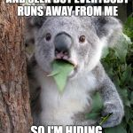 Surprised Koala Meme | I'M PLAYING HIDE AND SEEK BUT EVERYBODY RUNS AWAY FROM ME SO I'M HIDING FROM THEM AND EATING | image tagged in memes,surprised koala | made w/ Imgflip meme maker