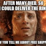 Its Finally Over Meme | AFTER MANY DIED, SO I COULD DELIVER THE RING NOW YOU TELL ME ABOUT FREE SHIPPING | image tagged in memes,its finally over | made w/ Imgflip meme maker