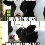If you oppose cow farts you're just being a bovinephobe. | SINGLING OUT COW FARTS IS BIGOTED AND PREJUDICED! WHAT ABOUT HORSE FARTS AND SHEEP FARTS AND PIG FARTS? BOVINEPHOBES! | image tagged in cows | made w/ Imgflip meme maker