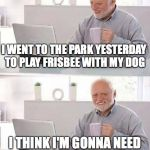 Hide the Pain Harold Meme | I WENT TO THE PARK YESTERDAY TO PLAY FRISBEE WITH MY DOG I THINK I'M GONNA NEED A FLATTER DOG NEXT TIME | image tagged in memes,hide the pain harold,funny,frisbee,memelord344,dog | made w/ Imgflip meme maker