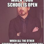 It always seems like that from where I'm am | WHEN YOUR SCHOOL IS OPEN WHEN ALL THE OTHER SCHOOLS ARE HAVING A SNOW DAY | image tagged in memes,face you make robert downey jr | made w/ Imgflip meme maker