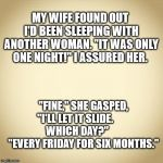 "blank | MY WIFE FOUND OUT I'D BEEN SLEEPING WITH ANOTHER WOMAN. ""IT WAS ONLY ONE NIGHT!"" I ASSURED HER. ""FINE,"" SHE GASPED, ""I'LL LET IT SLIDE.      
