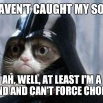 Grumpy Cat Star Wars Meme | YOU HAVEN'T CAUGHT MY SON?!?? AH, WELL, AT LEAST I'M A CAT AND AND CAN'T FORCE CHOKE YOU. | image tagged in memes,grumpy cat star wars,grumpy cat | made w/ Imgflip meme maker
