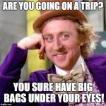 Willy Wonka Blank | ARE YOU GOING ON A TRIP? YOU SURE HAVE BIG BAGS UNDER YOUR EYES! | image tagged in willy wonka blank | made w/ Imgflip meme maker