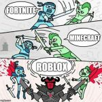 Sword fight | FORTNITE ROBLOX MINECRAFT | image tagged in sword fight | made w/ Imgflip meme maker