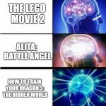 SUBMIT TO YOUR KING! | AVENGERS: ENDGAME THE LEGO MOVIE 2 ALITA: BATTLE ANGEL HOW TO TRAIN YOUR DRAGON 3: THE HIDDEN WORLD GODZILLA: KING OF THE MONSTERS | image tagged in expanding brain meme | made w/ Imgflip meme maker