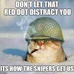 War Cat | DON'T LET THAT RED DOT DISTRACT YOU ITS HOW THE SNIPERS GET US | image tagged in war cat | made w/ Imgflip meme maker