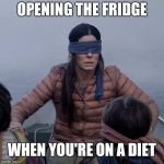 Bird Box Meme | OPENING THE FRIDGE WHEN YOU'RE ON A DIET | image tagged in memes,bird box | made w/ Imgflip meme maker