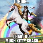 Welcome To The Internets Meme | I THINK... I HAD TOO MUCH KITTY CRACK | image tagged in memes,welcome to the internets | made w/ Imgflip meme maker