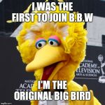 Big Bird Meme | I WAS THE FIRST TO JOIN B.B.W I'M THE ORIGINAL BIG BIRD | image tagged in memes,big bird | made w/ Imgflip meme maker