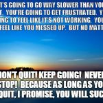 Inspirational Quote | IT'S GOING TO GO WAY SLOWER THAN YOU WANT.  YOU'RE GOING TO GET FRUSTRATED.  YOU'RE GOING TO FEEL LIKE IT'S NOT WORKING.  YOU'RE GOING TO FE | image tagged in inspirational quote | made w/ Imgflip meme maker