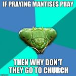 Crazy Girlfriend Praying Mantis Meme | IF PRAYING MANTISES PRAY THEN WHY DON'T THEY GO TO CHURCH | image tagged in memes,crazy girlfriend praying mantis | made w/ Imgflip meme maker