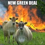 Evil Cows Meme | NEW GREEN DEAL | image tagged in memes,evil cows | made w/ Imgflip meme maker