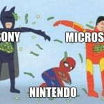 Pathetic Spidey Meme | MICROSOFT NINTENDO SONY | image tagged in memes,pathetic spidey | made w/ Imgflip meme maker