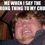 WTF Meme | ME WHEN I SAY THE WRONG THING TO MY CRUSH | image tagged in memes,wtf | made w/ Imgflip meme maker
