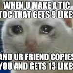 crying cat | WHEN U MAKE A TIC TOC THAT GETS 9 LIKES AND UR FRIEND COPIES YOU AND GETS 13 LIKES | image tagged in crying cat | made w/ Imgflip meme maker