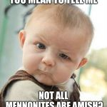 Confused Baby | YOU MEAN TO TELL ME NOT ALL MENNONITES ARE AMISH? | image tagged in confused baby | made w/ Imgflip meme maker