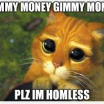Shrek Cat Meme | GIMMY MONEY GIMMY MONEY PLZ IM HOMLESS | image tagged in memes,shrek cat | made w/ Imgflip meme maker