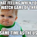 You do not live there but | THAT FEELING WHEN YOU CAN WATCH GAME OF THRONES SAME TIME AS THE US | image tagged in memes,success kid original | made w/ Imgflip meme maker