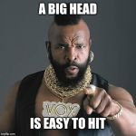 Mr T Pity The Fool Meme | A BIG HEAD IS EASY TO HIT | image tagged in memes,mr t pity the fool | made w/ Imgflip meme maker