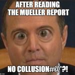 Schiff BUG EYE | AFTER READING THE MUELLER REPORT NO COLLUSION#@*?! | image tagged in schiff bug eye | made w/ Imgflip meme maker
