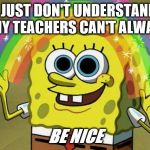 Education Memes | I JUST DON'T UNDERSTAND WHY TEACHERS CAN'T ALWAYS BE NICE | image tagged in memes | made w/ Imgflip meme maker