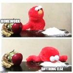 elmo cocaine | HOMEWORK ANYTHING ELSE | image tagged in elmo cocaine | made w/ Imgflip meme maker