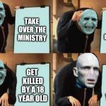 Voldemort's Plan | TAKE OVER THE MINISTRY STEAL THE ELDER WAND GET KILLED BY A 18 YEAR OLD GET KILLED BY A 18 YEAR OLD | image tagged in gru's plan,lord voldemort,he who must not be named,harry potter | made w/ Imgflip meme maker