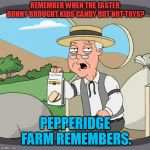 Just wondering why Easter is turning into second Christmas, (Cue the Lord of the Rings second Christmas comments!) | REMEMBER WHEN THE EASTER BUNNY BROUGHT KIDS CANDY BUT NOT TOYS? PEPPERIDGE FARM REMEMBERS. | image tagged in memes,pepperidge farm remembers,nixieknox | made w/ Imgflip meme maker