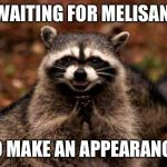 Evil Plotting Raccoon Meme | ME WAITING FOR MELISANDRE TO MAKE AN APPEARANCE | image tagged in memes,evil plotting raccoon | made w/ Imgflip meme maker