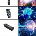 Portable Telephonic Device | image tagged in expanding brain extended 2,memes | made w/ Imgflip meme maker