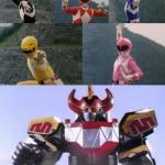 Mighty Morphing Power Rangers summon the Megazord