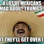 Happy Mexican | A LOT OF MEXICANS ARE MAD ABOUT TRUMP'S WALL BUT THEY'LL GET OVER IT... | image tagged in happy mexican | made w/ Imgflip meme maker