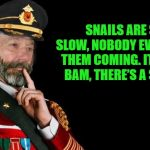 snail pun | SNAILS ARE SO SLOW, NOBODY EVER SEES THEM COMING. IT'S LIKE BAM, THERE'S A SNAIL. | image tagged in kewlew as captain obvious,puns | made w/ Imgflip meme maker