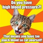 Bad Advice Cat Meme | Do you have high blood pressure?! That means you have too much blood so cut yourself! | image tagged in memes,bad advice cat,medicine,blood,disease,the cure | made w/ Imgflip meme maker