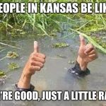 FLOODING THUMBS UP | PEOPLE IN KANSAS BE LIKE WE'RE GOOD, JUST A LITTLE RAIN | image tagged in flooding thumbs up | made w/ Imgflip meme maker